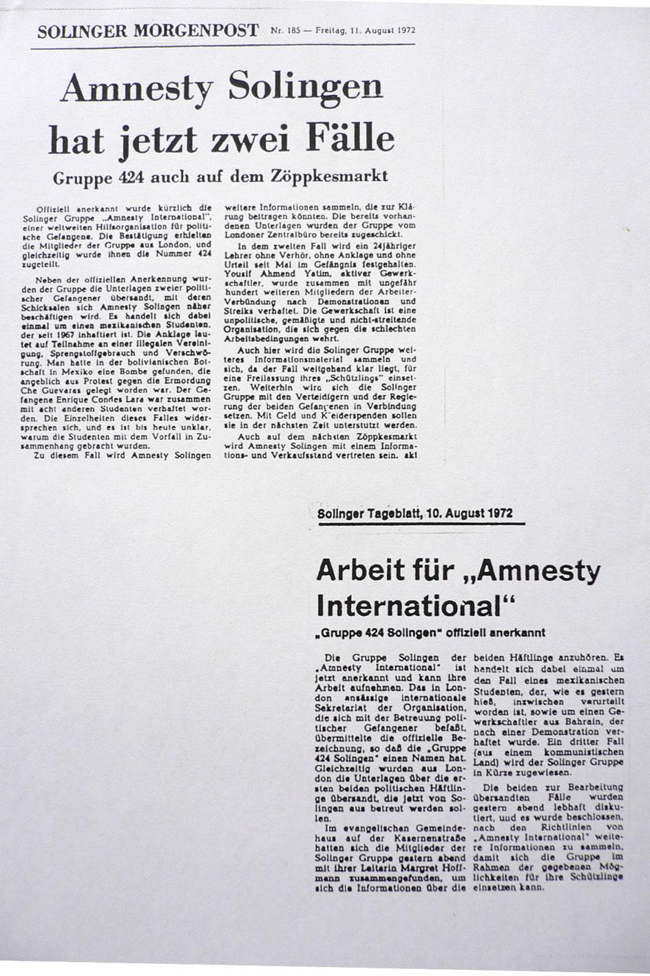 Solinger Morgenpost 08/72: Gründung der Solinger Gruppe
