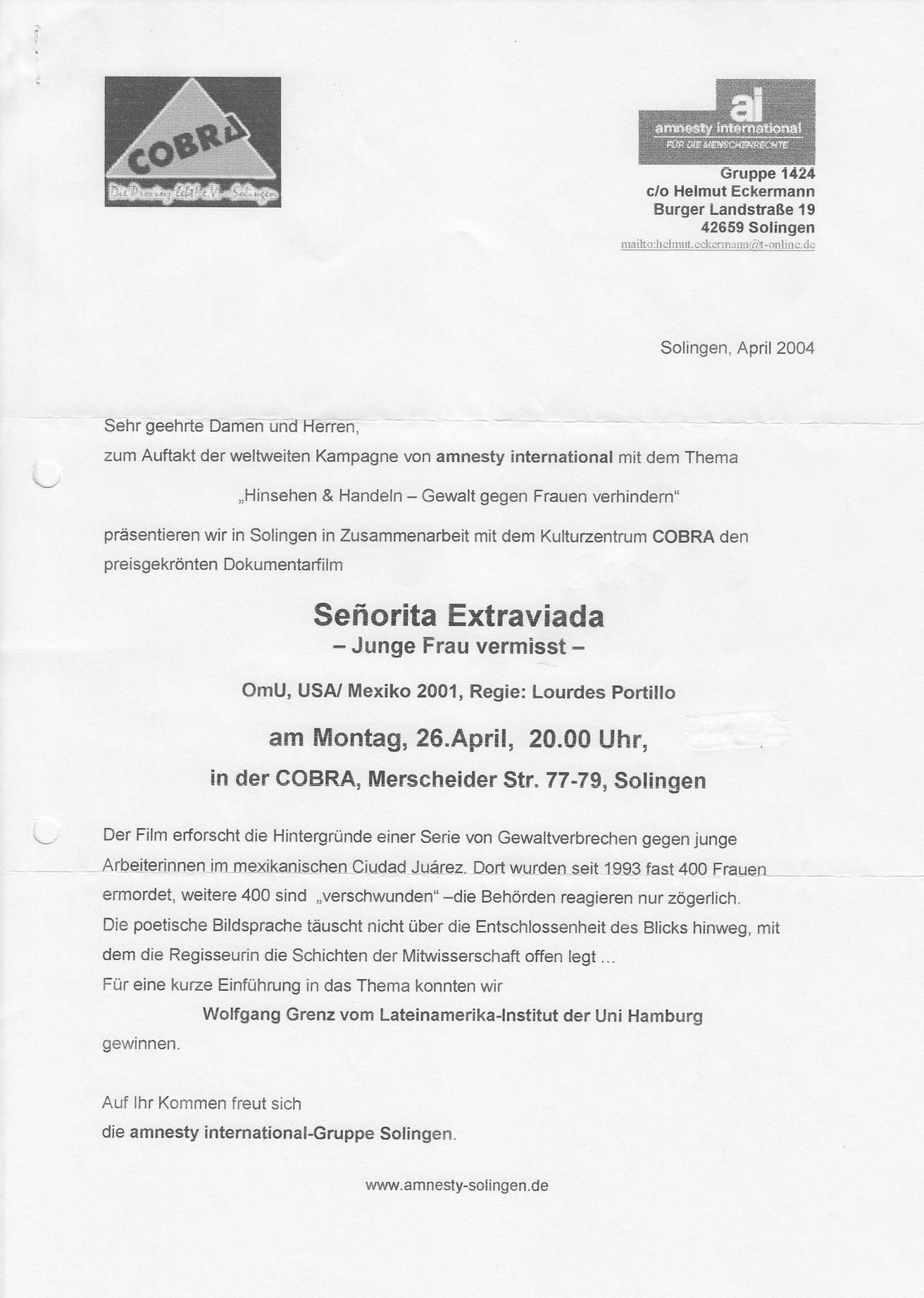 Pressemitteilung Cobra zum Film Senorita Extraviada