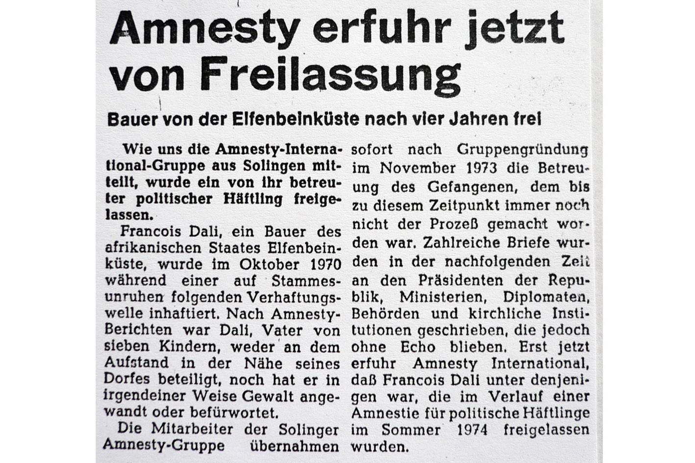 Solinger Tageblatt 02/76: Freilassung eines politischen Häftlings Elfenbeinküste