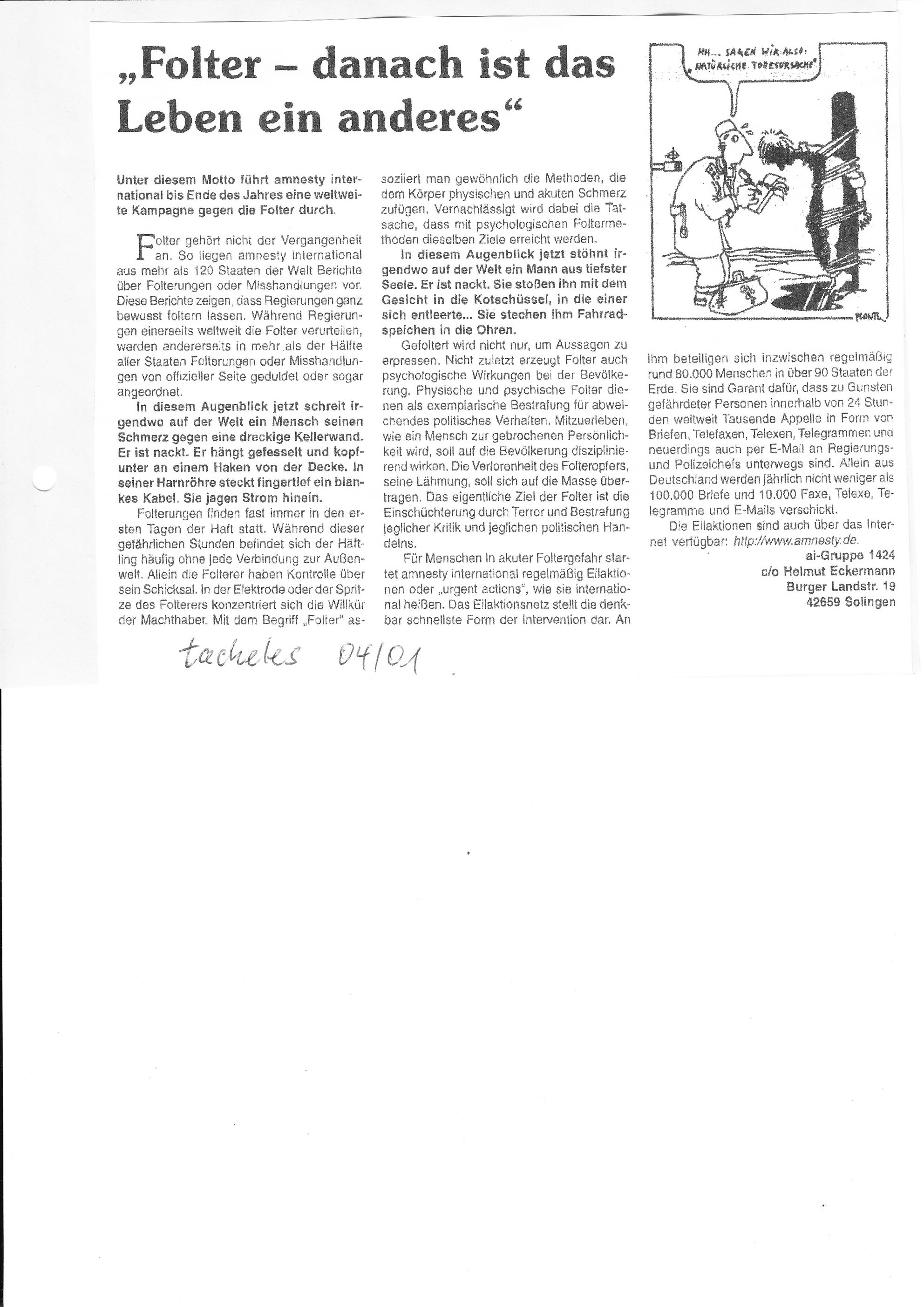 Tacheles 04/01: Anti-Folter-Kampagne