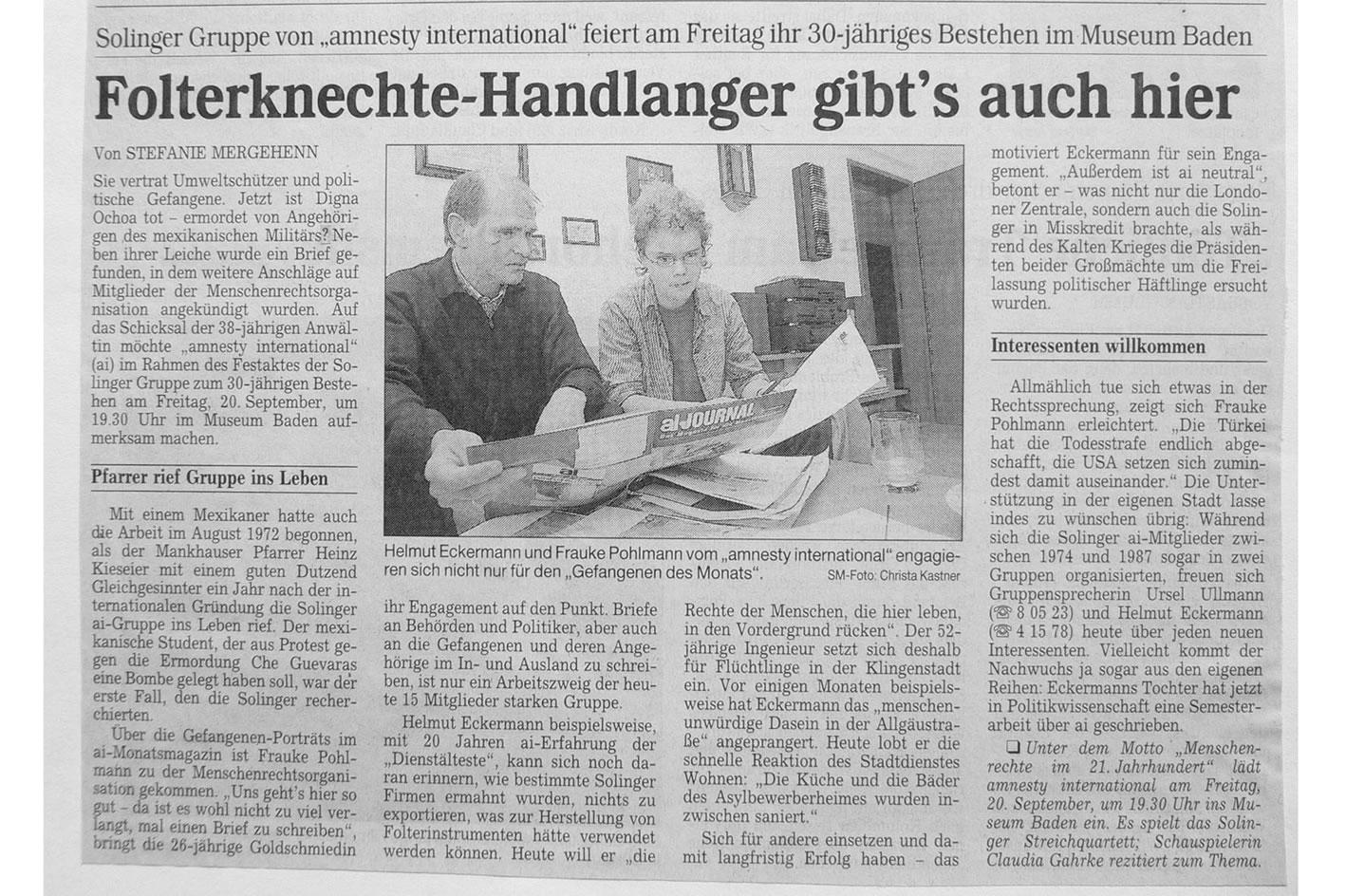 Solinger Morgenpost 09/02: 30 Jahres ai-Gruppe Solingen
