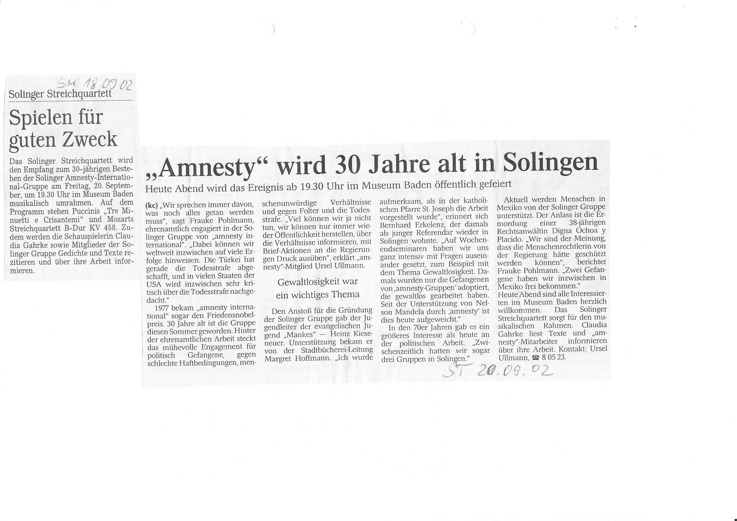 Solinger Tageblatt 09/02: 30 Jahre ai-Gruppe Solingen