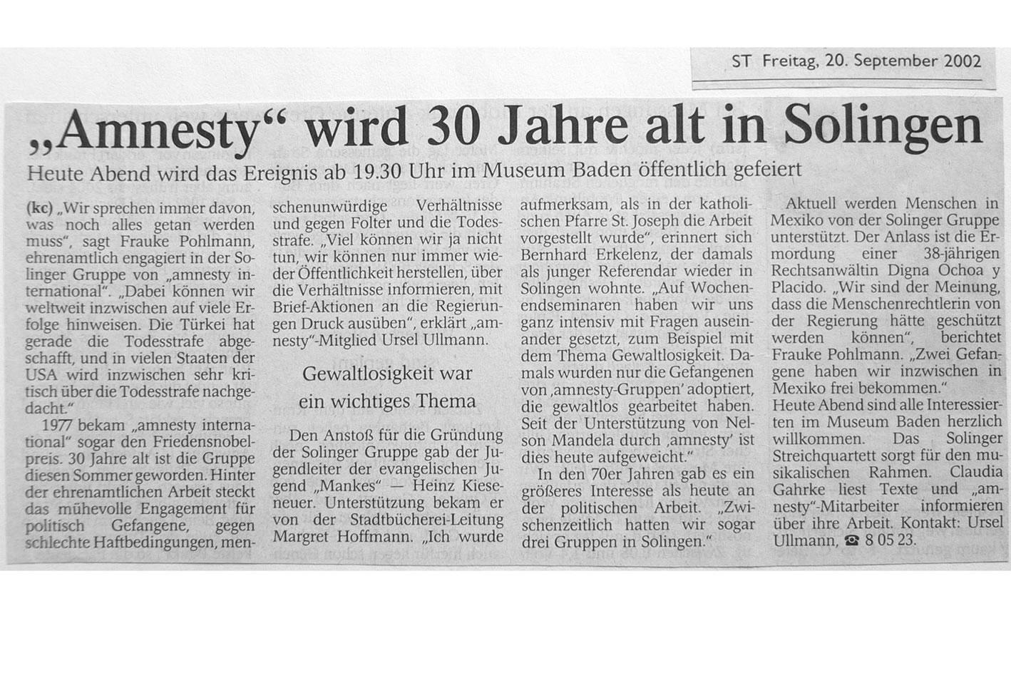 Solinger Tageblatt 09/02: Feier 30 Jahre ai-Gruppe Solingen