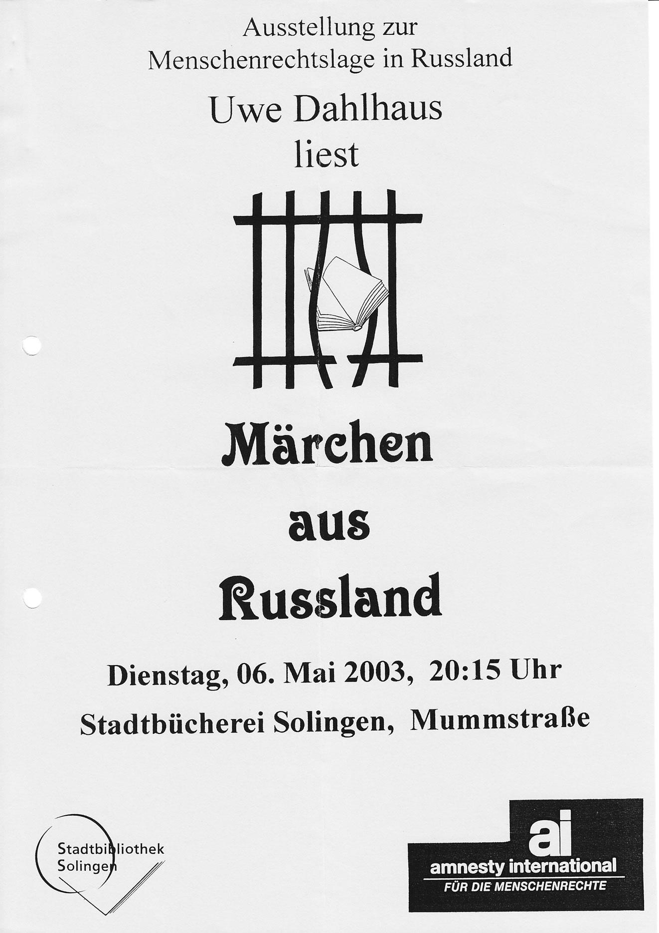 Pressemitteilung VHS 05/03: Lesung mit Uwe Dahlhaus zu Russland