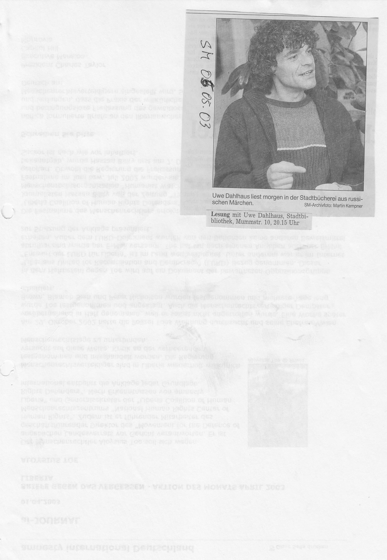Ankündigung Solinger Morgenpost 05/03: Lesung Uwe Dahlhaus