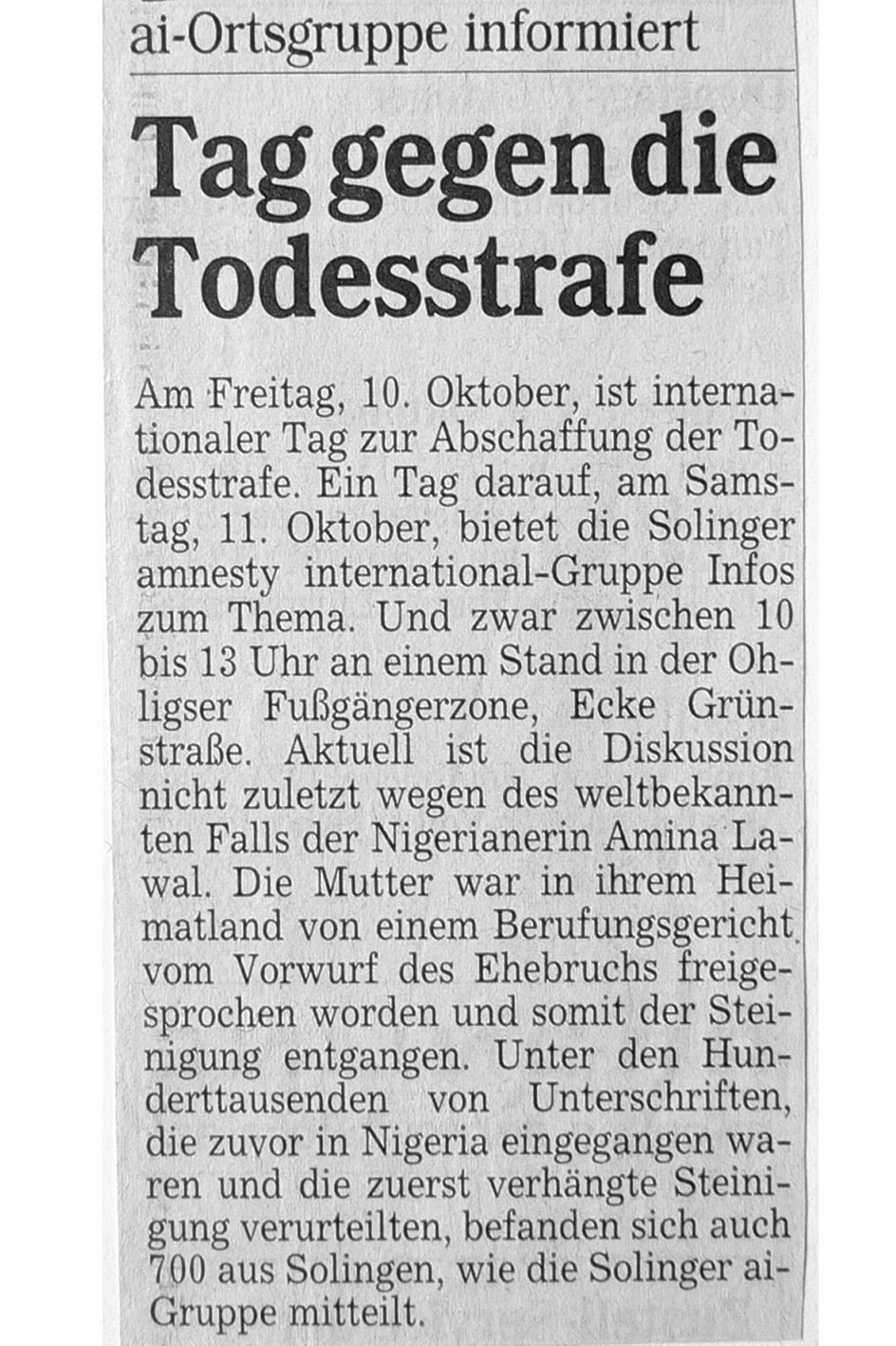 Solinger Morgenpost 10/03: Aktion gegen Todesstrafe
