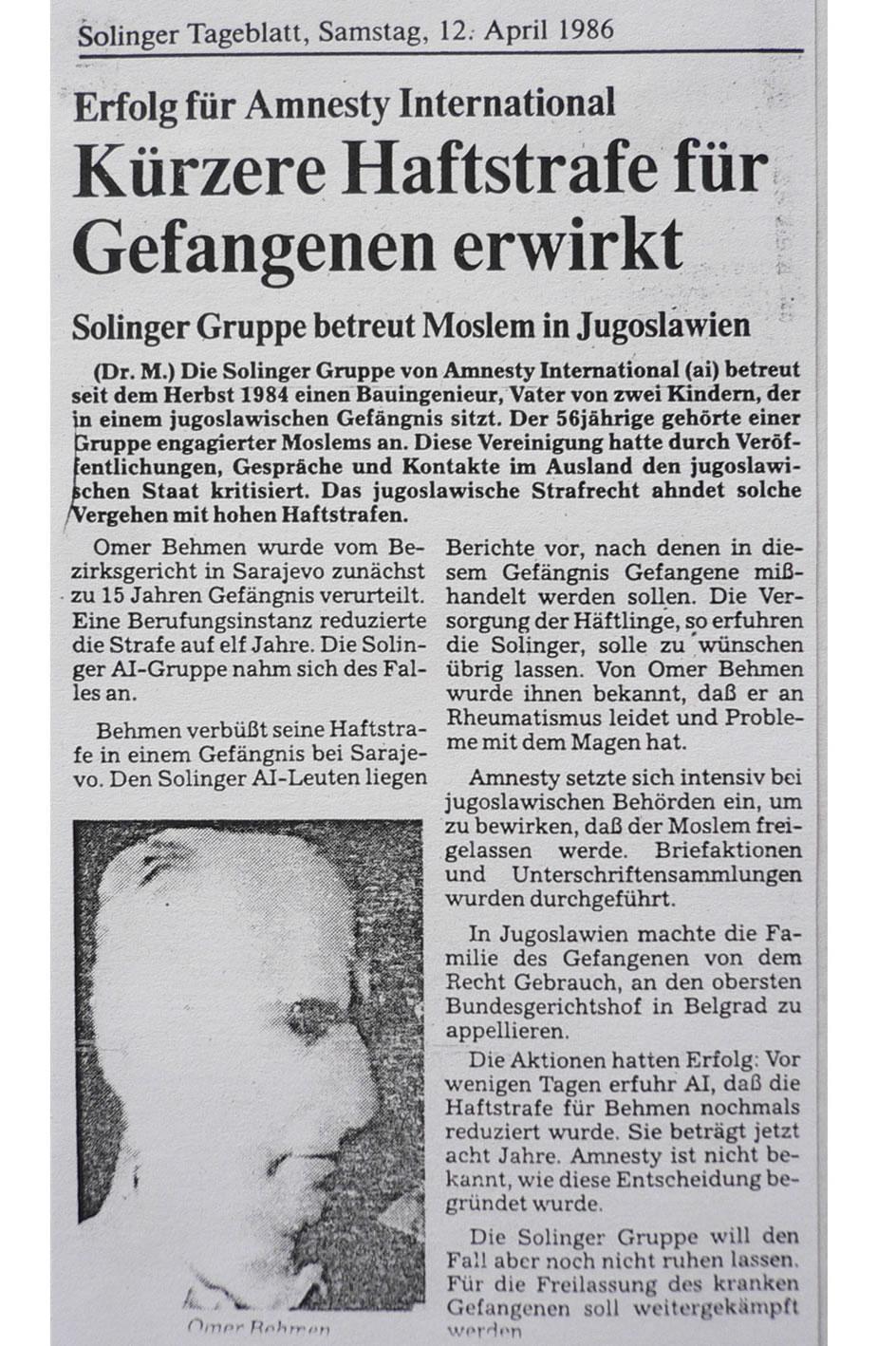 Solinger Tageblatt 04/86: Fall Omer Behmen, Jogoslawien