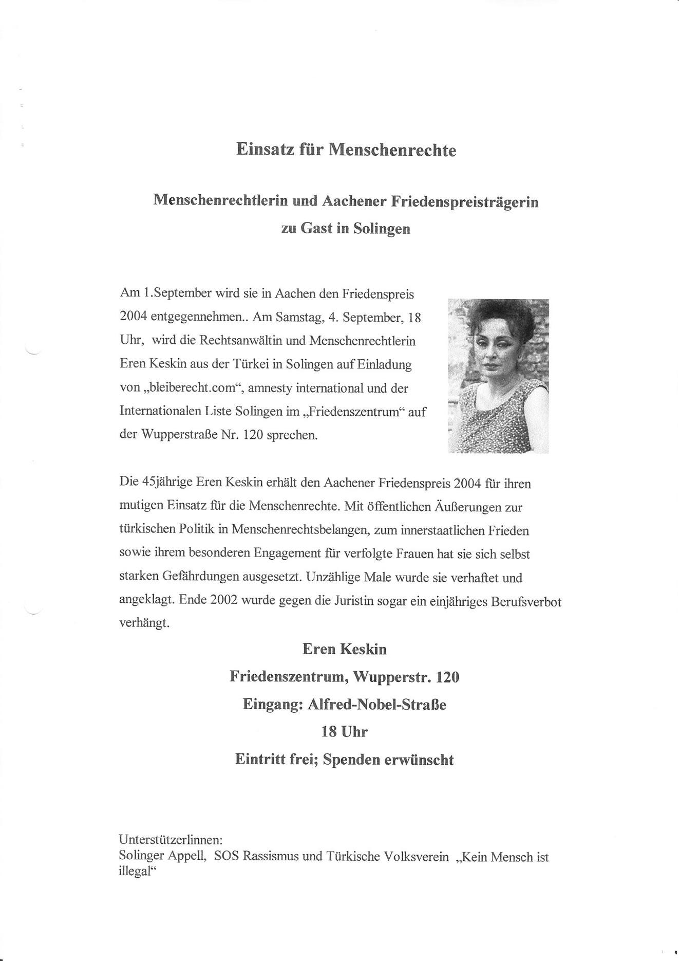 Pressemitteilung 09/04: Vortrag Eren Keskin