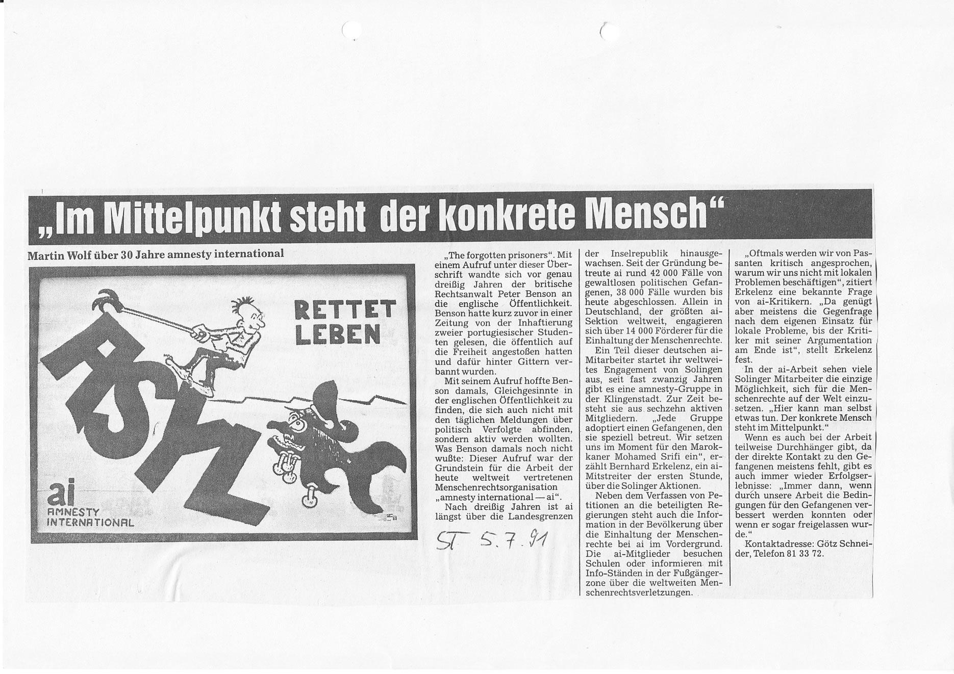 Solinger Tageblatt 07/91: 30 Jahre Amnesty International