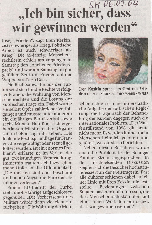 Solinger Morgenpost 09/04: Vortrag Eren Keskin