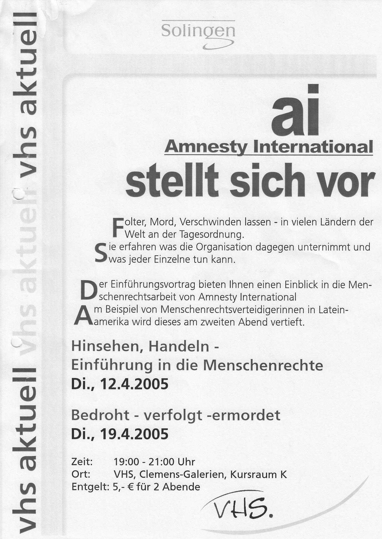 Pressemitteilung VHS 04/05: Infoveranstaltungen zu amnesty-Arbeit