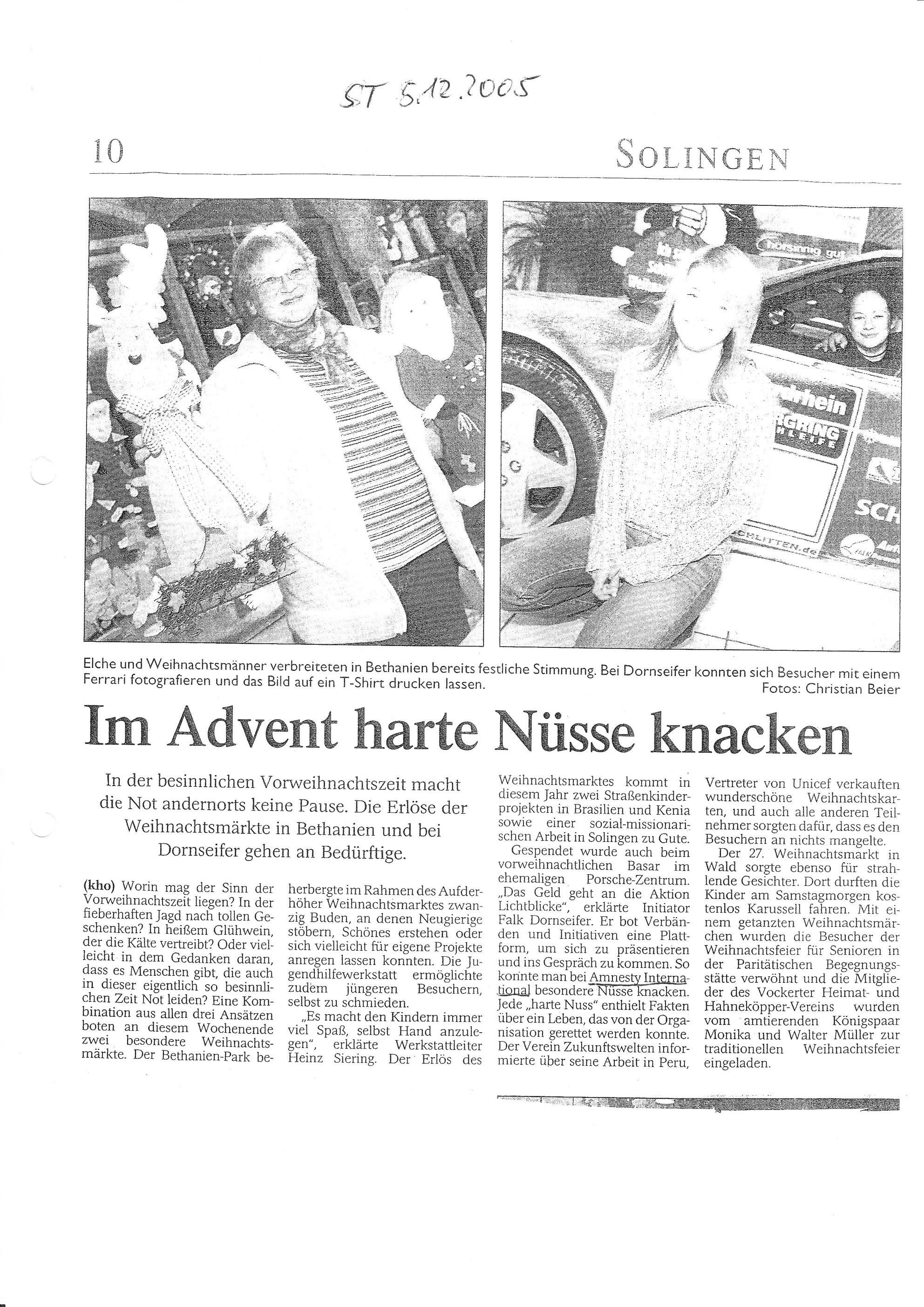 Solinger Tageblatt 12/05: Teilnahme Weihnachtsmarkt