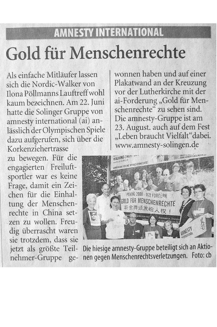 Solinger Tageblatt 08/08: Aktion Gold für Menschenrechte