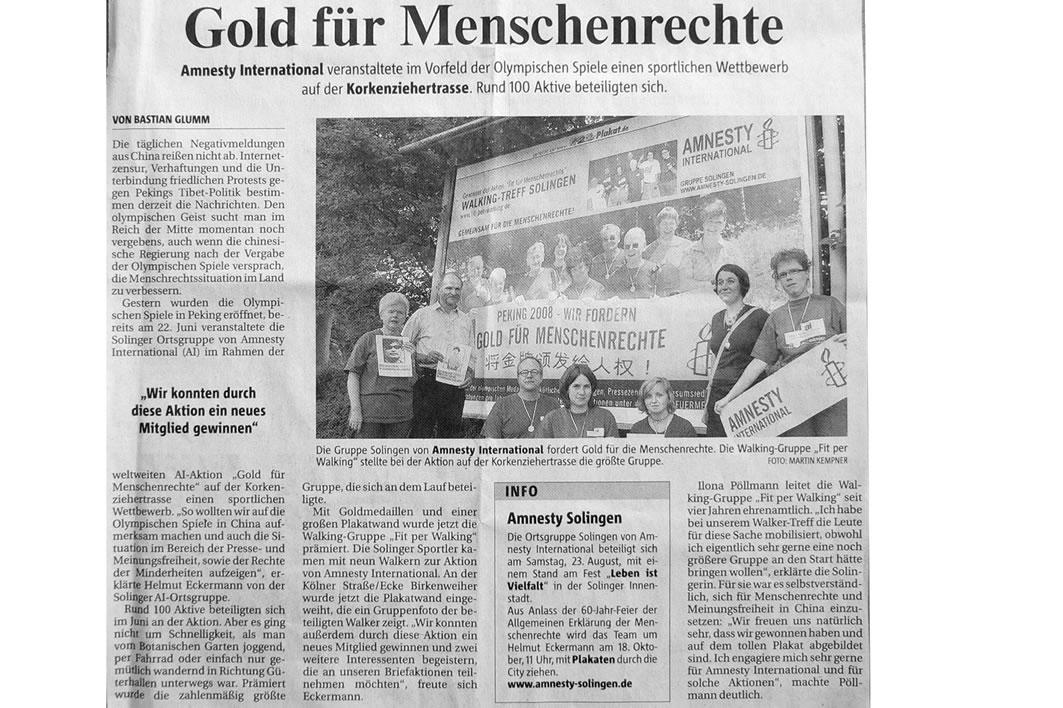 Solinger Morgenpost 08/08: Aktion Gold für Menschenrechte