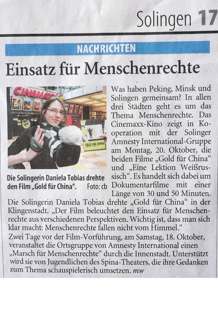 """Solinger Tageblatt 08/08: Film """"Gold für China"""""""