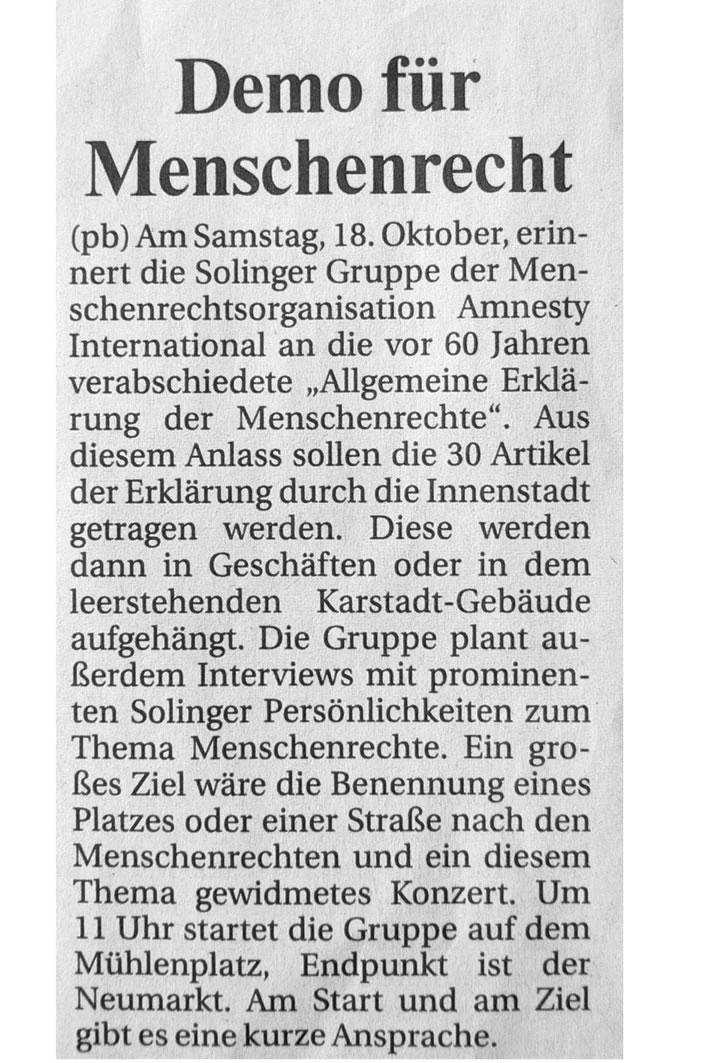 Solinger Morgenpost 10/08: Demo für Menschenrechte
