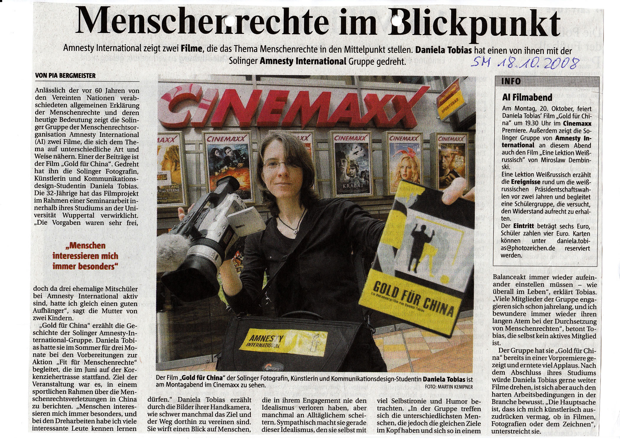"Solinger Morgenpost 10/08: Film ""Gold für China"""