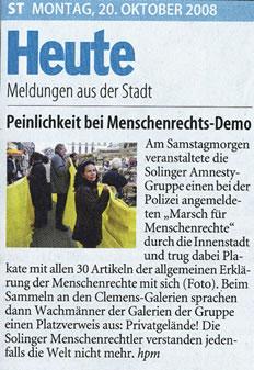Solinger Tageblatt 10/08: Demo für Menschenrechte