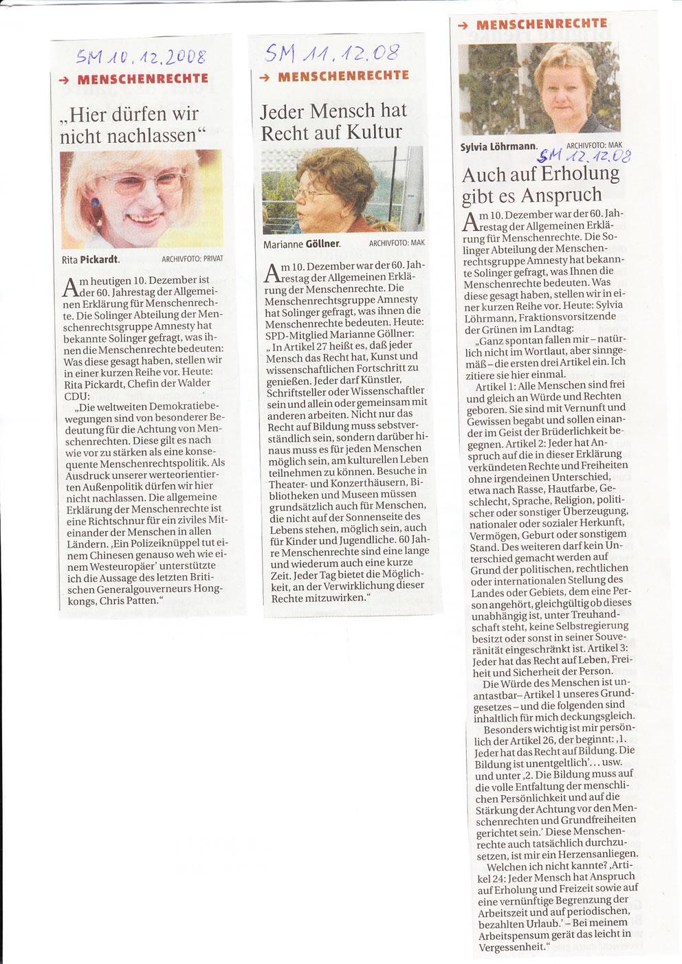 Solinger Morgenpost 12/08: Solinger Promis für Menschenrechte
