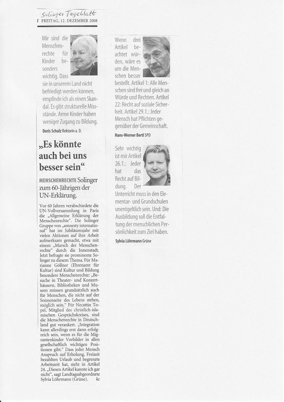 Solinger Tageblatt 12/08: Solinger Promis für Menschenrechte