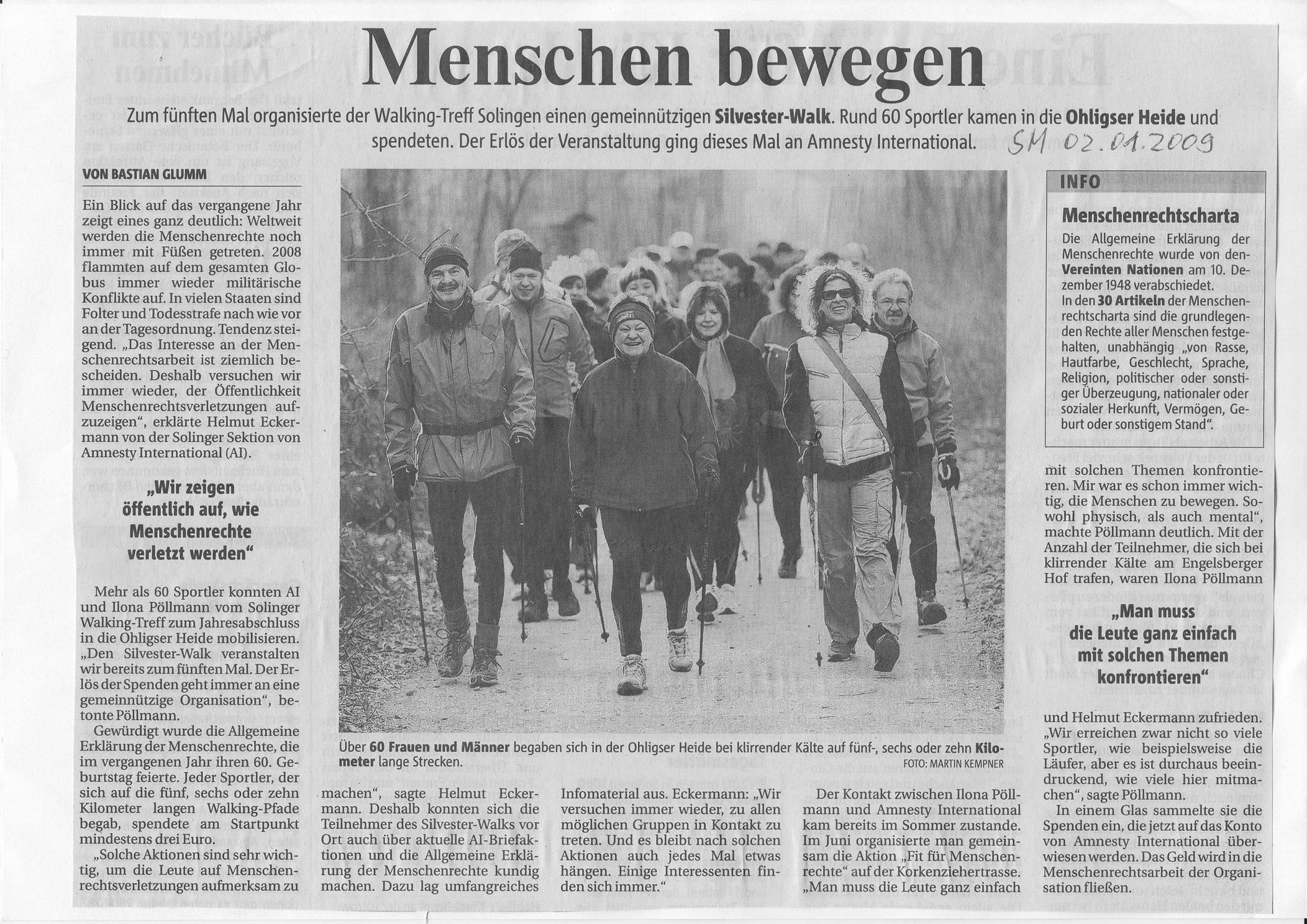 Solinger Morgenpost 01/09: Silvester-Walk für Menschenrechte