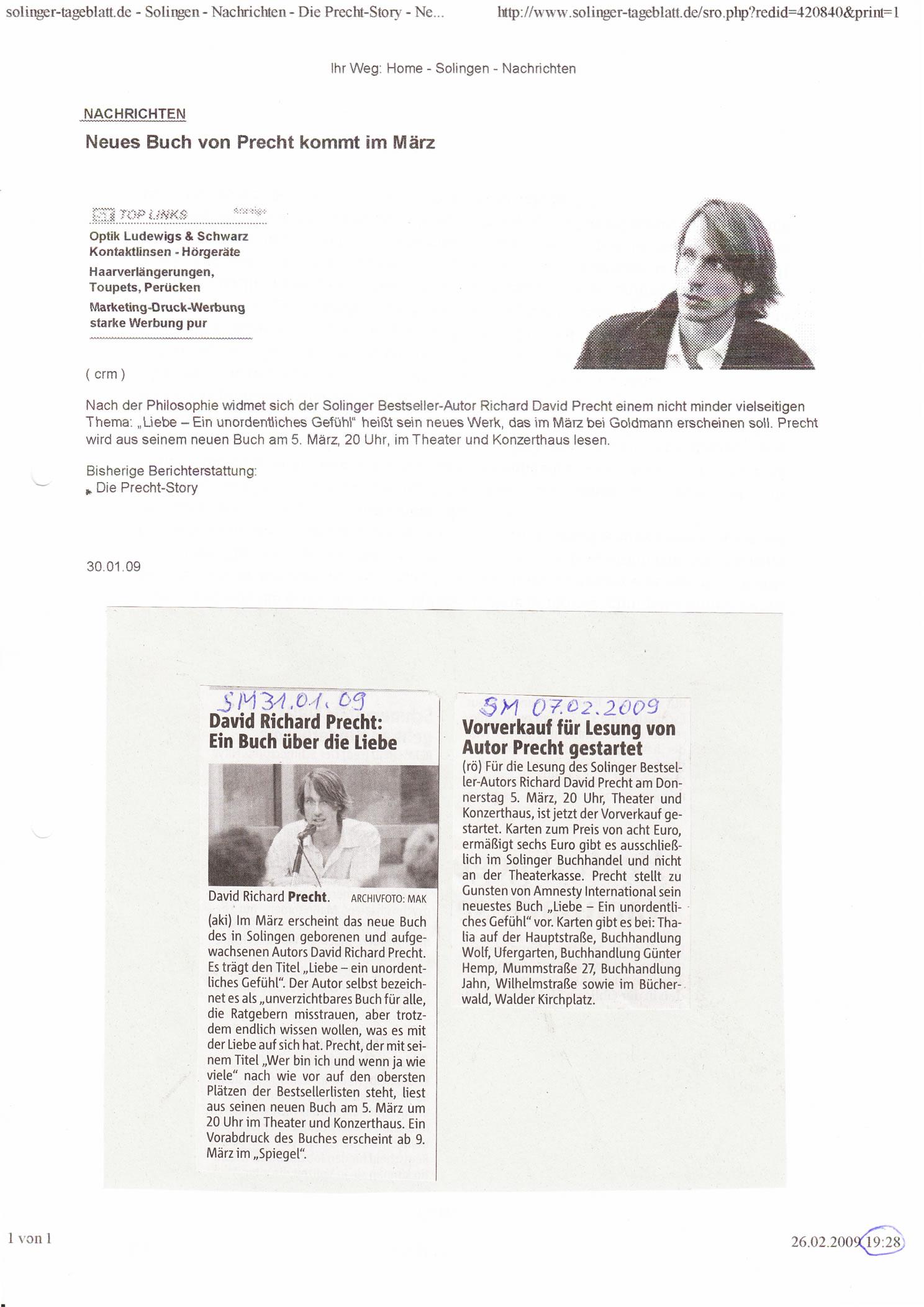 Solinger Tageblatt 01/09: Ankündigung Lesung Richard David Precht