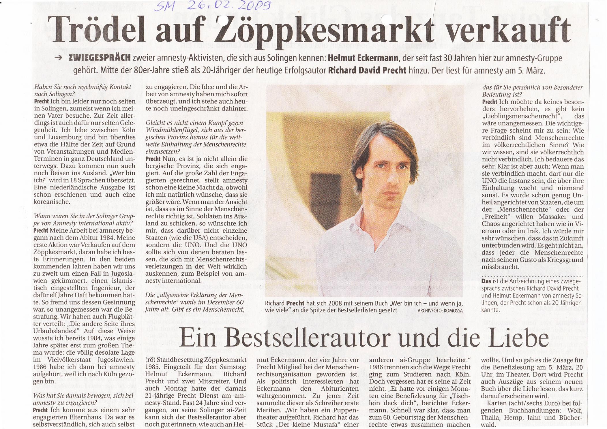 Solinger Morgenpost 02/09: Interview Helmut Eckermann + Richard David Precht