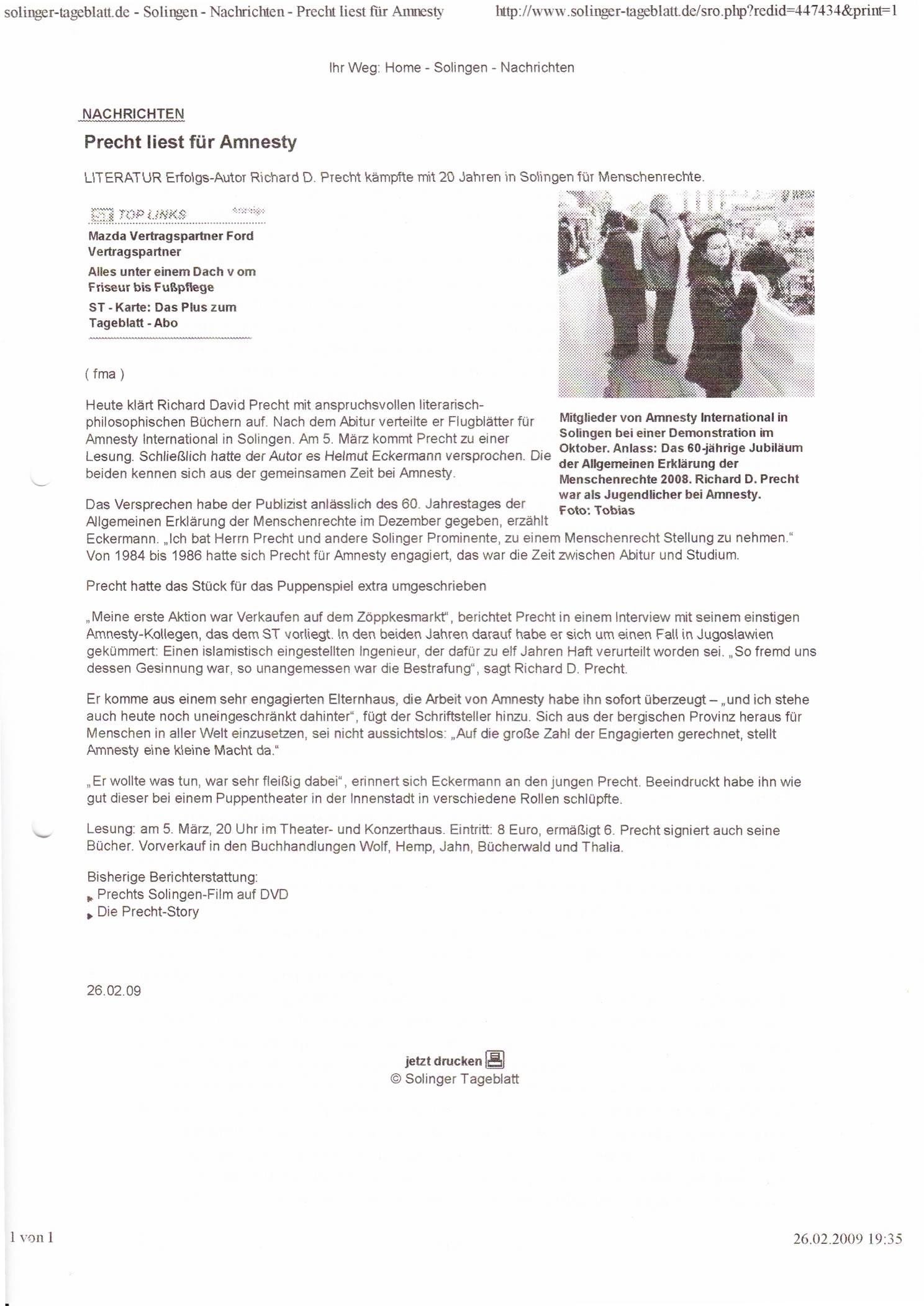 Solinger Tageblatt 02/09: Ankündigung Lesung Richard David Precht