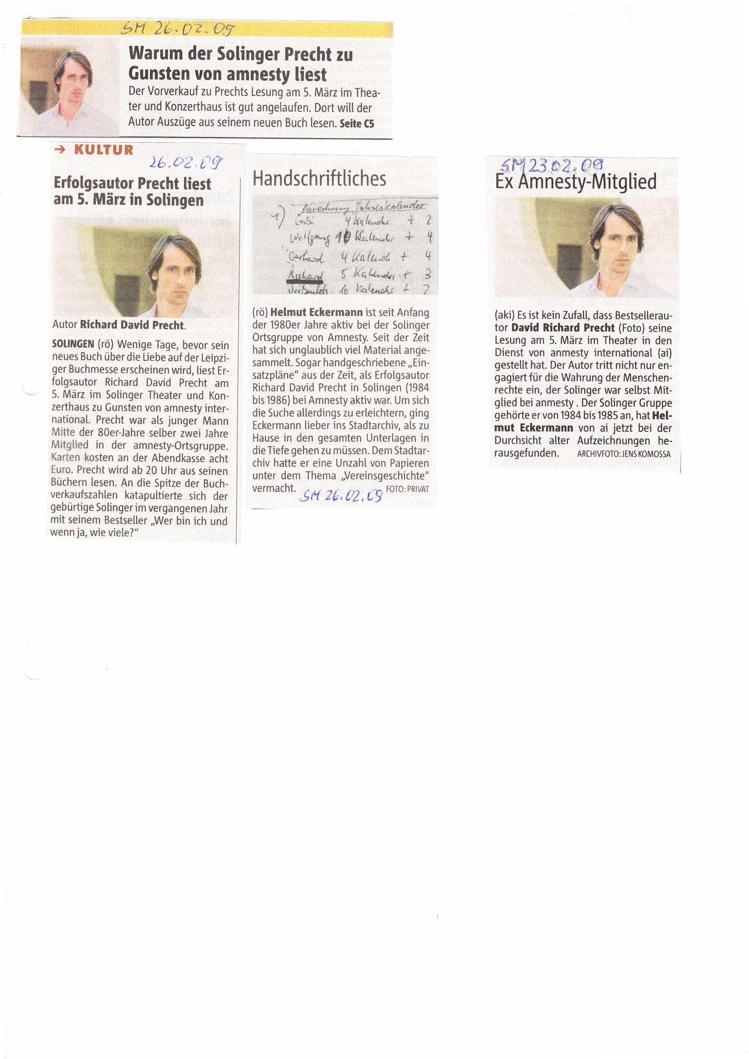 Solinger Morgenpost 02/09: Ankündigung Lesung Richard David Precht