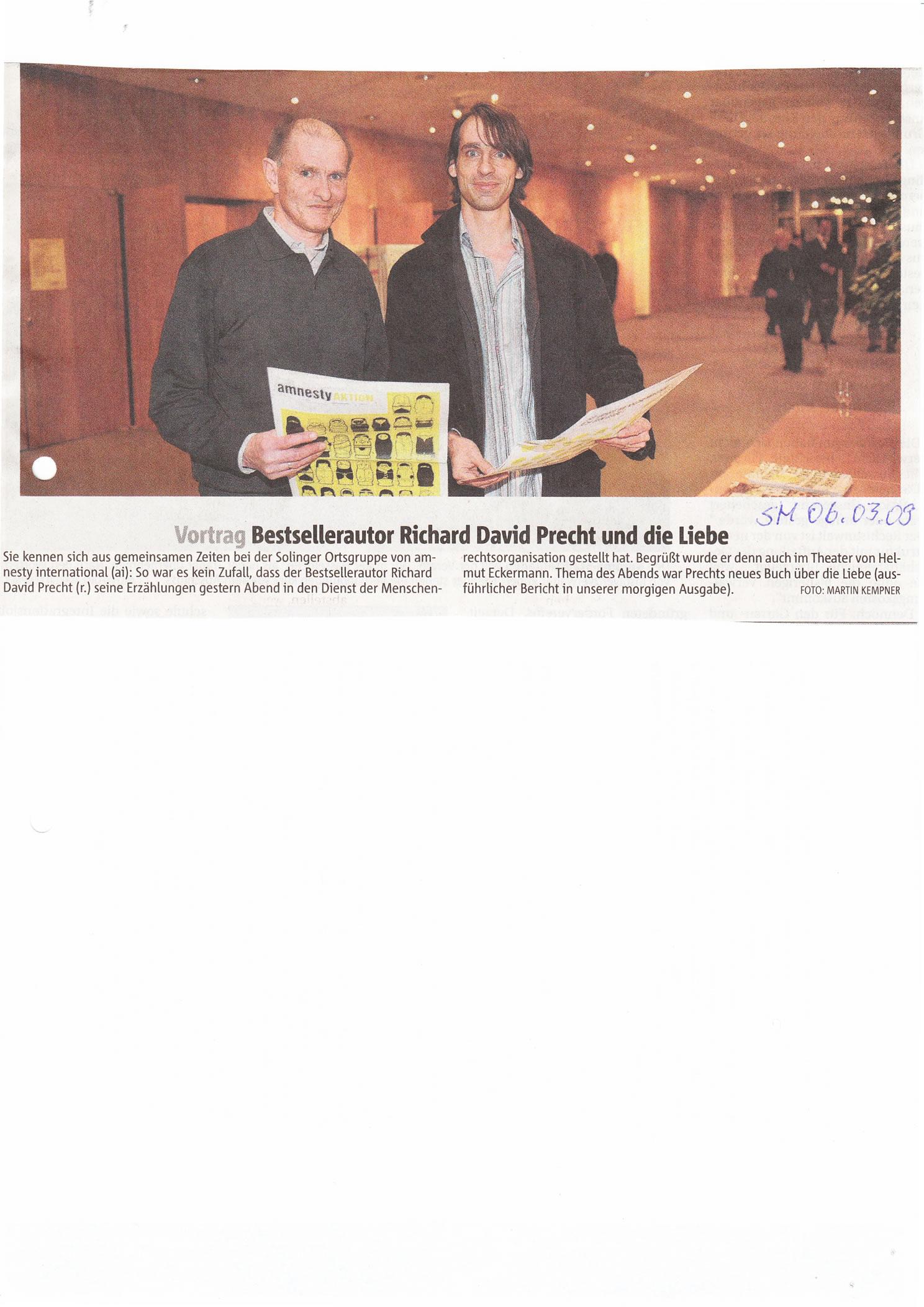 Solinger Morgenpost 03/09: Foto Lesung Richard David Precht