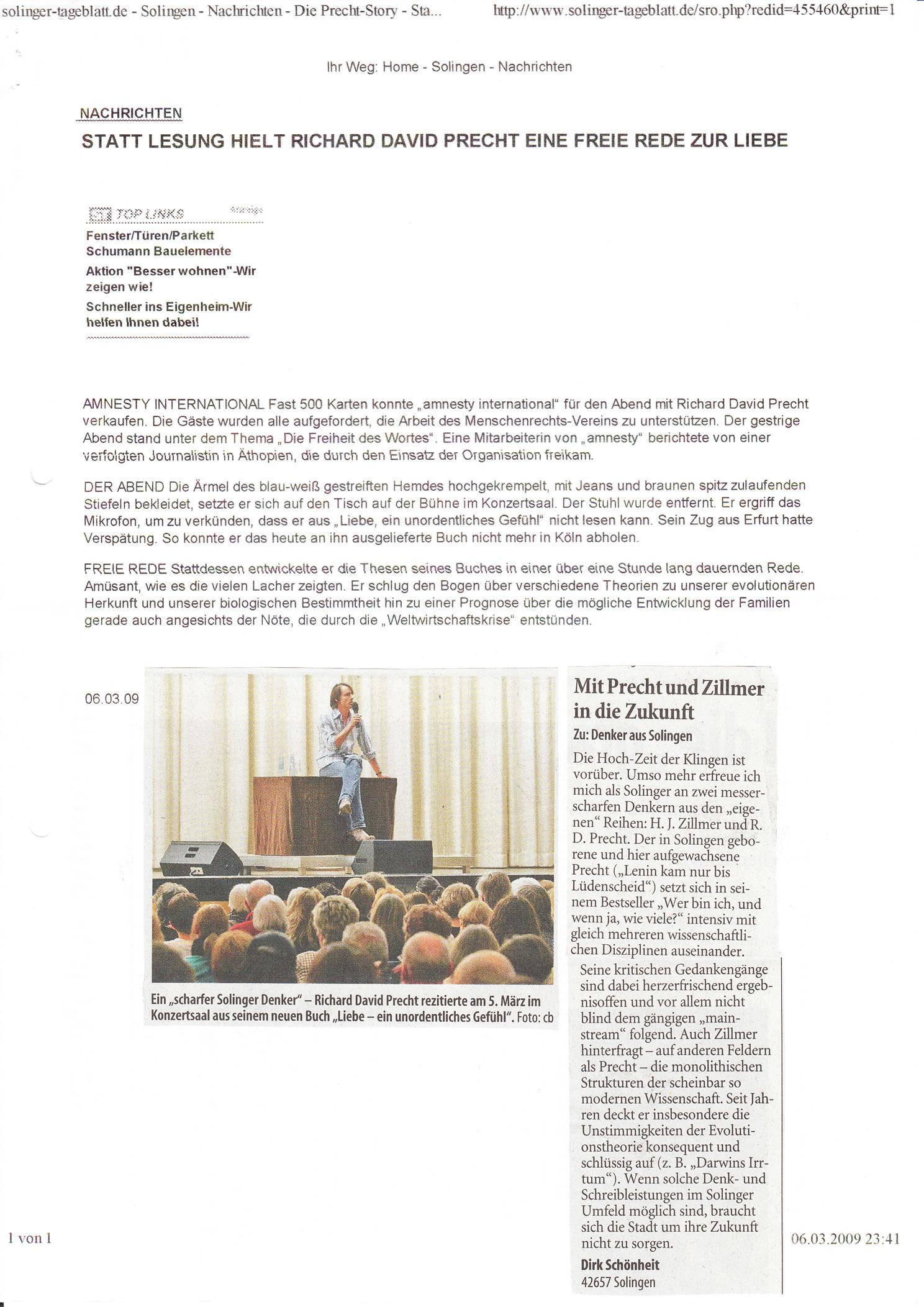 Solinger Tageblatt 03/09: Lesung Richard David Precht, Leserbrief