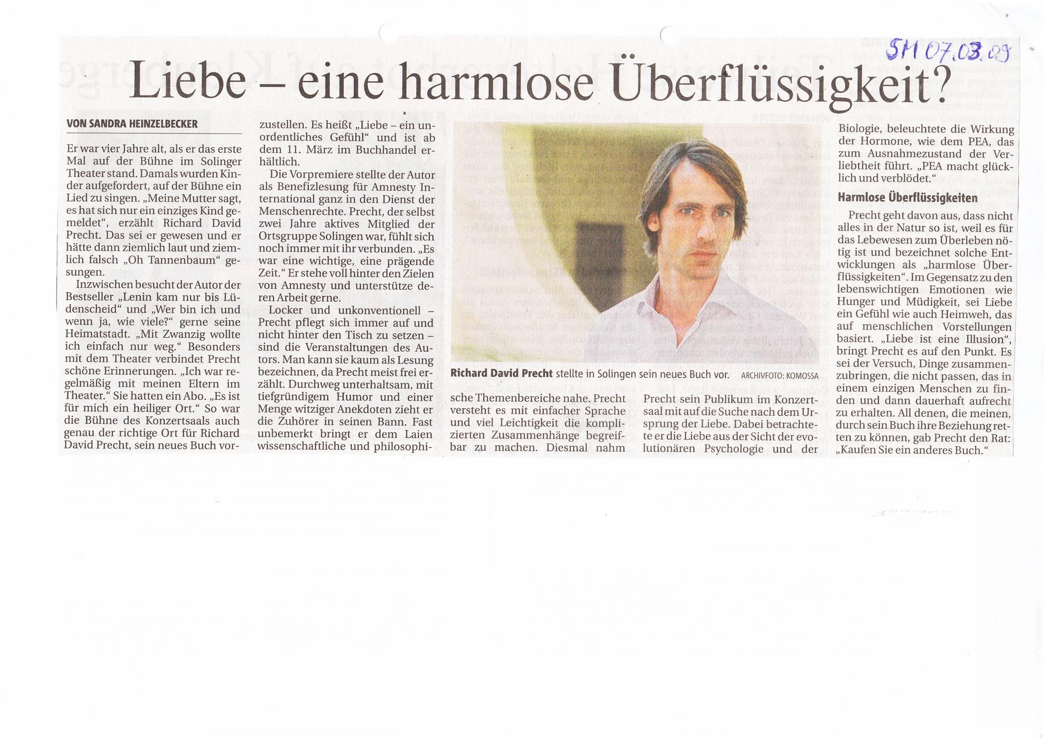 Solinger Morgenpost 03/09: Bericht Lesung Richard David Precht