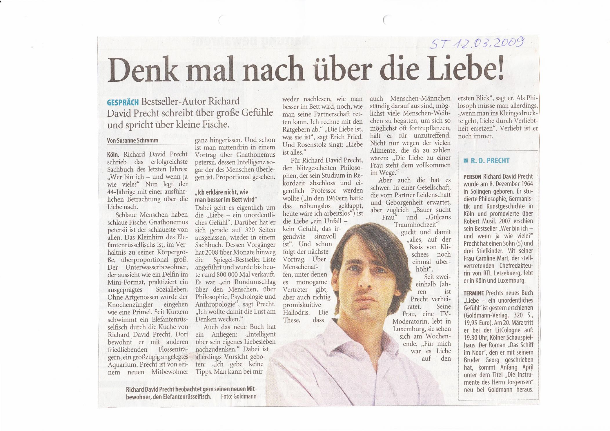 Solinger Tageblatt 03/09: Bericht Lesung Richard David Precht