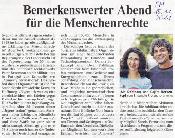Artikel in der Solinger Morgenpost 15.11.2011