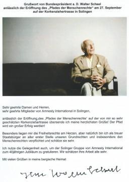 Grußwort Walter Scheel